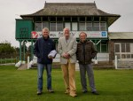 Richard Green, Dave Walker and Dr Bill Parker in front of the pavilion at Honley CC